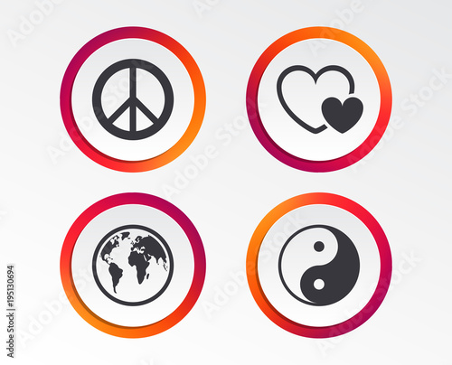 World Globe Icon Ying Yang Sign Hearts Love Sign Peace Hope