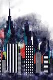 Amerykańskie miasto budynków i drapaczy chmur Akwareli ilustracja - 195131220