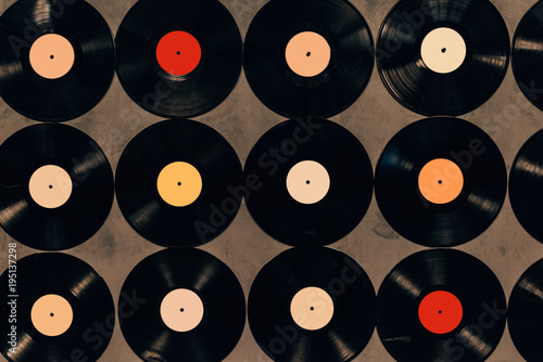 Photographie top view of background made from vinyl records