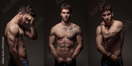 Fotografie, Obraz  Modèle masculin à torse nu en studio