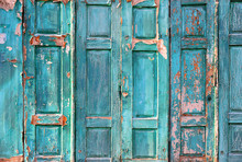 Texture Of The Old Door. Peeling Paint On Wooden Doors As A Deta
