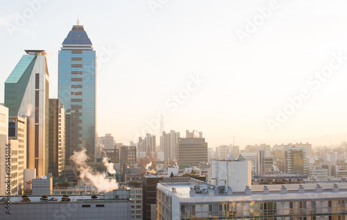 City View from Gangnam, Seoul South Korea with Early Morning Sunrise Poster