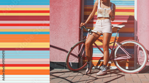 Tuinposter Fiets Hipster with bicycle