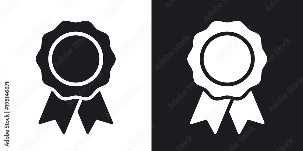 Fototapety, obrazy: Vector badge with ribbons icon. Two-tone version on black and white background