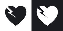 Vector Break Heart Icon. Two-t...