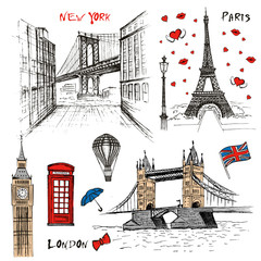 Fototapeta Paris, London and New-York vector drawings set