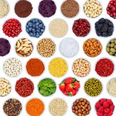 Fototapeta Früchte Beeren Gemüse Sammlung Hintergrund quadratisch Nüsse von oben freigestellt