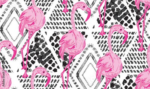 Tapeta w Piękny abstrakcyjny wzór egzotycznego ptaka Flaminga