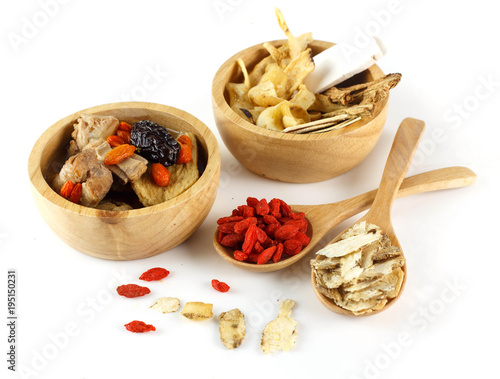 Chinese herbal on white