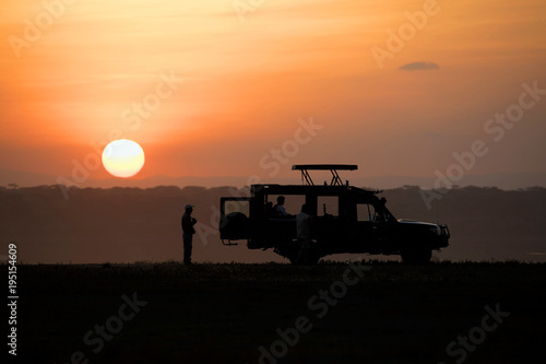 Spoed Foto op Canvas Oranje eclat Backlight sunset African landscape while in safari