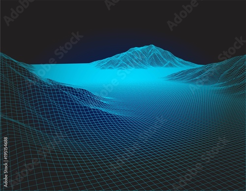 Fotobehang Zwart Abstract vector wire frame blueprint landscape background