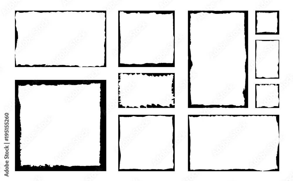 Fototapety, obrazy: Set of grunge square frames. Empty border background. Hand draws black and white ink. Distress damaged edge vintage template. Brush stroke vector.