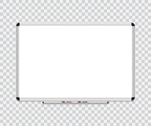 Whiteboard Background Frame With Eraser Whiteboard, Color Markers. Vector Illustration