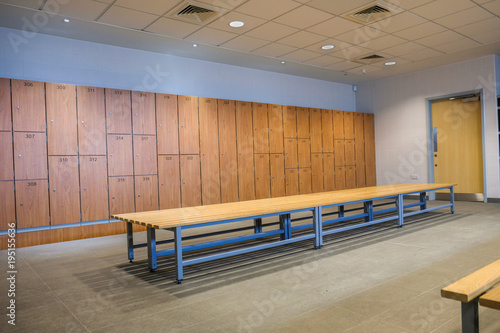 Fotografie, Obraz  Public changing rooms with bench and lockers