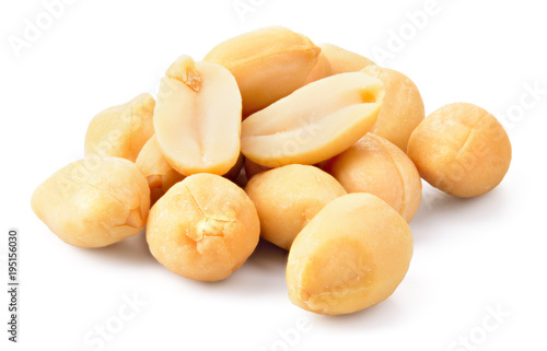 Peanuts isolated on white background. Heap of nuts. Full depth of field.