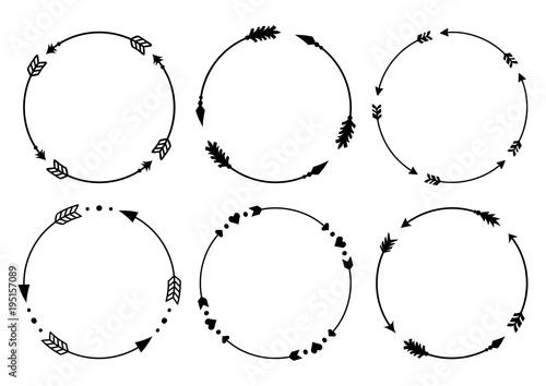 In de dag Boho Stijl Circle arrow frames for monograms. Arrows in boho style. Tribal arrows. Vector