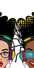 Two Women Black White In Sunglasses Listen Music In Earphones. Face Pop Art Style. Girl Smile Face Vintage. Disco Musical Banner. Vintage Poster WOW Kitsch. Summer Party Empty Speech Bubble For Text