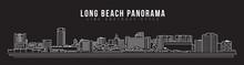 Cityscape Building Line Art Vector Illustration Design - Long Beach City Panorama