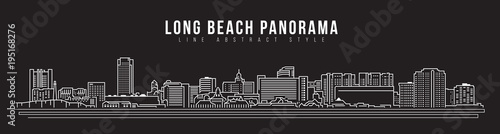 фотография  Cityscape Building Line art Vector Illustration design - Long beach city panoram