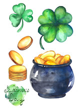 A Collection Of Watercolor Illustrations For St. Patrick's Day. Clover With Four Leaves, Gold And Pot.