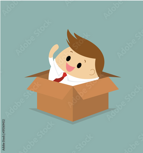 Vector of businessman in the box Canvas Print