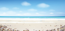 Vector  Ocean With Blue  Sky And Sandy Beach And Stones.