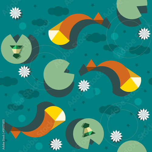 Poster Prune fish in the water repeating pattern, abstract vector illustration of nature