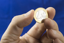 Close Up Of One Euro Coin In T...
