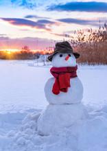 Classic Snowman On Sunset