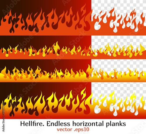 Hellfire endless horizontal planks Fototapet