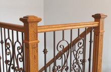 Victorian Style Staircase Wood Newel Post Haindrail Brown Metal Baluster Close-up