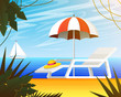 Summer web banner, background for travel. Tropical landscape with palm tree, beach umbrella and deckchair, yacht sail, ocean. Vacation, Holiday Weekend. Close up on sea sand. Vector illustration.