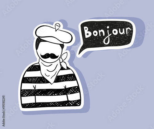 Paris Man Saying Good Day In French Buy This Stock Vector And