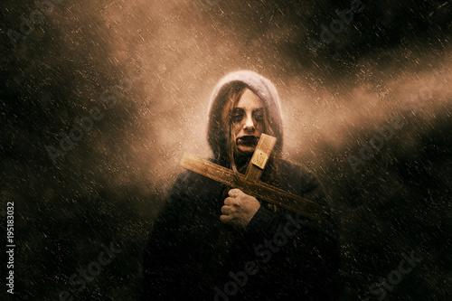 Obraz na płótnie Woman with satanic cross