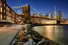 Brooklyn Bridge Park Riverfront At Twilight With View On The Skyscrapers Of Lower Manhattan And The Brooklyn Bridge. Brooklyn, Manhattan, New York City