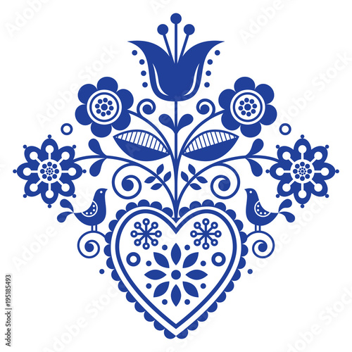 Cuadros en Lienzo Scandinavian retro folk art floral, vector design in navy blue, Nordic pattern w