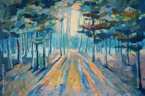 Obrazy na ścianę  painting-beautiful-winter-forest-sunlight-in-the-forest-painting-acrylic-and-full-spectrum