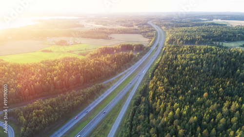 Highway at the sunset. Finland