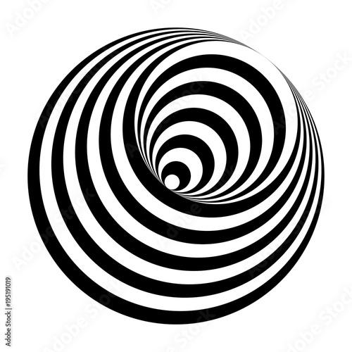 Cuadros en Lienzo optical illusion black and white circles cone