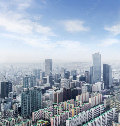high rise office buildings in Seoul city, winter daylight wiht han river, Seoul, Poster