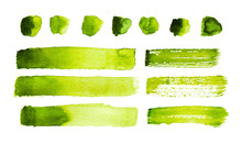 Green Watercolor Strokes And Stains Isolated On White Background