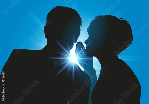 Secret - confidence - confidentiel - rumeur - couple - ami - cancan - informatio Canvas Print