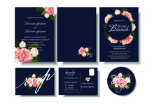 Set Of Wedding Invitation Card With Boomming Floral On Gray Background. Bridle Shower Card.RSVP.Thank You Card For Your Wedding Celebration