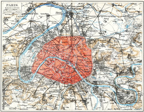 Cuadros en Lienzo Map of Paris ca. 1890 (from Meyers Lexikon, 1896, 13/532/533)