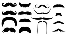 Vector Vintage Set Of Variants Fake Mustache. Photo Props Booth For Little Man Party ( Dad Day, Birthday, Baby Boy Shower) Black Silhouette Isolated On White Background. Illustration For Laser Cutting