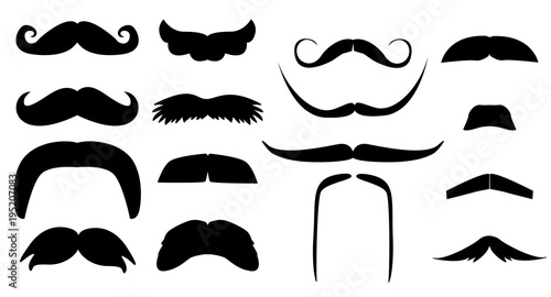 Vector Vintage Set Of Variants Fake Mustache Photo Props Booth For Little Man Party