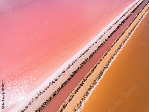 Candy pink Aerial shoot of salt lake