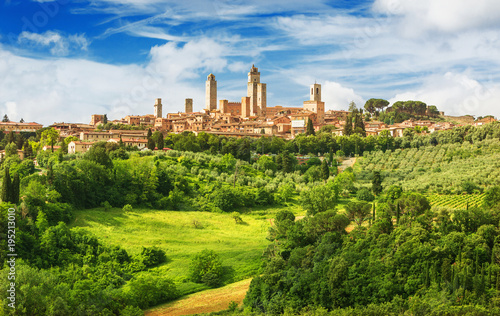 Fotografie, Obraz  Panorama of San Gimignano and vineyards around this Italian beautiful city (UNES