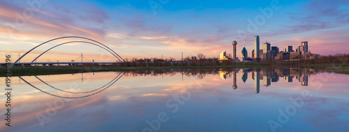 Canvas Prints Texas Dallas Skyline Reflection on Trinity River During Sunset, Dallas, Texas.