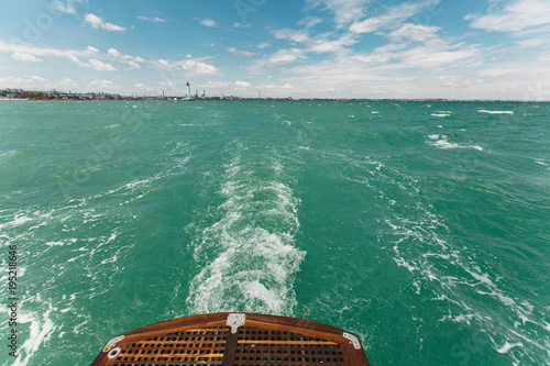 Beautiful seascape from the wooden deck of the yacht Canvas Print